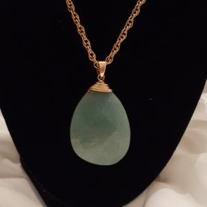Genuine Large Jade Stone Pendant & Necklace